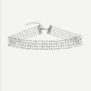 Sequin decorated mesh choker